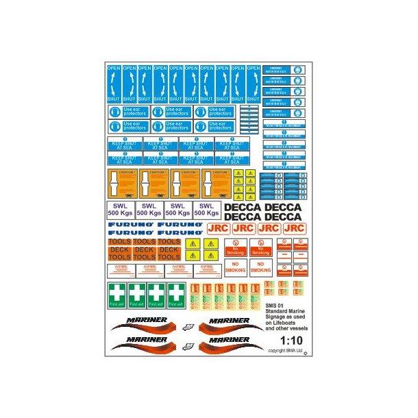 Standard marine skilte og mærker - skala 1/16