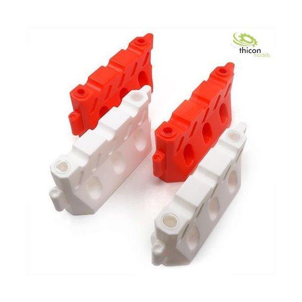 Afspærringselementer rød/hvid, 2 sæt